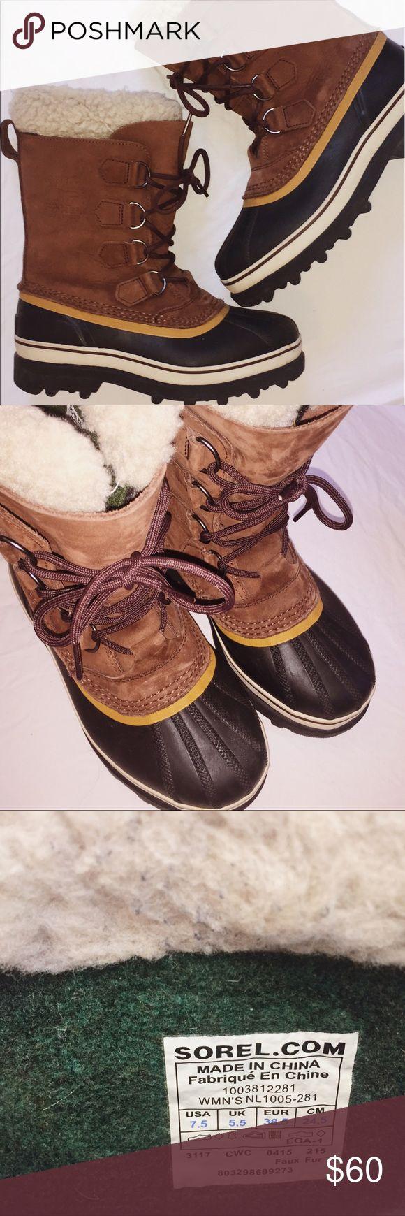 Women's Sorel snow boots (Caribou waterproof) Women's Sorel snow boots. Great condition. Warm fur lining. Waterproof. Worn for one season (maybe 5 times). Sorel Shoes Winter & Rain Boots