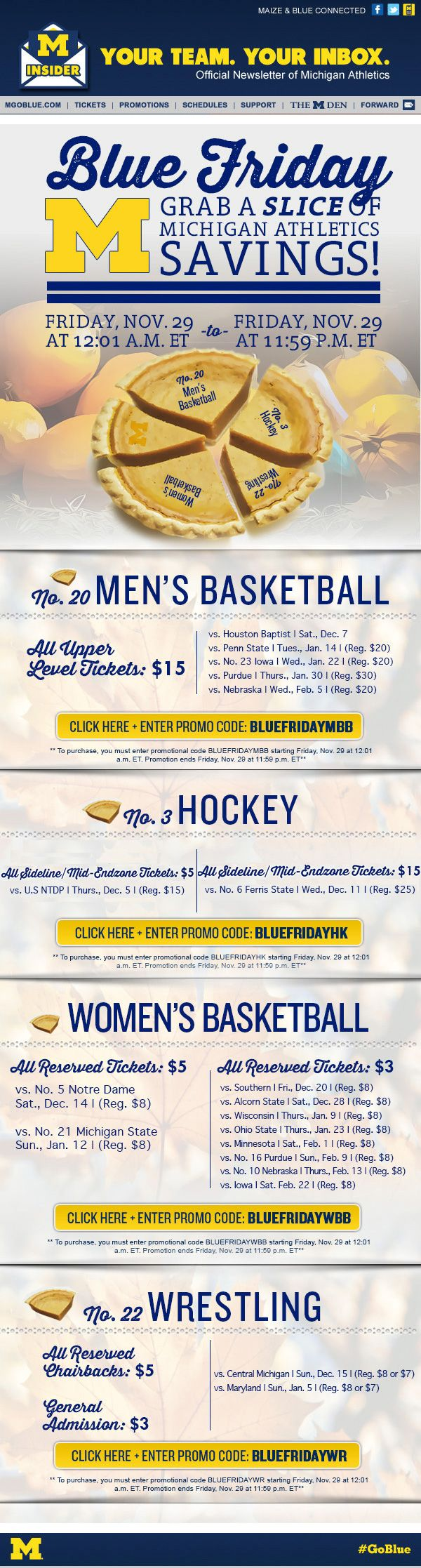 University of Michigan - select sports on sale for Blue Friday with promo codes