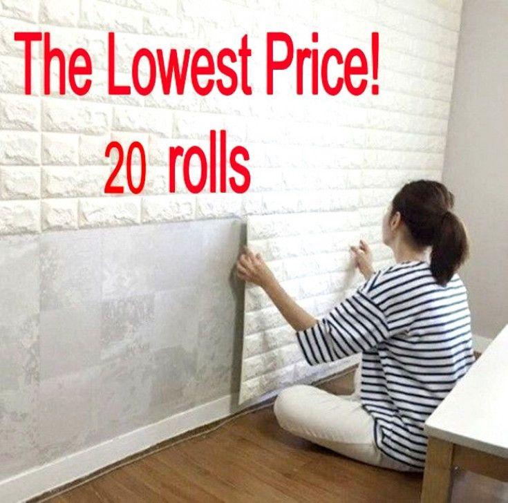 20 Rolls 3d Effect Stone Brick Wall Textured Vinyl Wallpaper Self Adhesive Safe Basementflooring Vinyl Wallpaper Cheap Basement Ideas Textured Walls