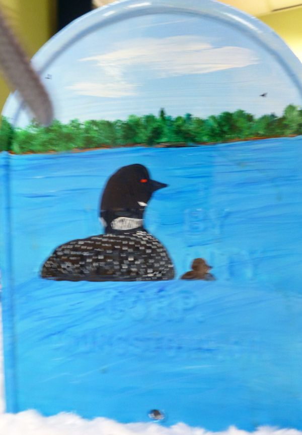 Common Loon on end of Loon rural mailbox (acrylic on metal)