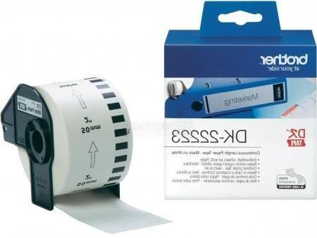 Белая бумажная клеящаяся лента Brother DK22223, ширина 50 мм (неразрезанная, рулон 30,48м) DK22223