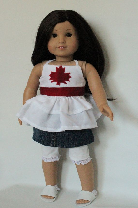 Canada Day Doll Outfit Patriotic Halter Top  by DewdropDreams2012, $30.00
