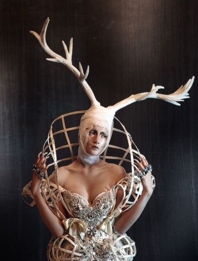 Sculptural Fashion - cage dress & antler headpiece; artistic fashion // Amato Haute Couture