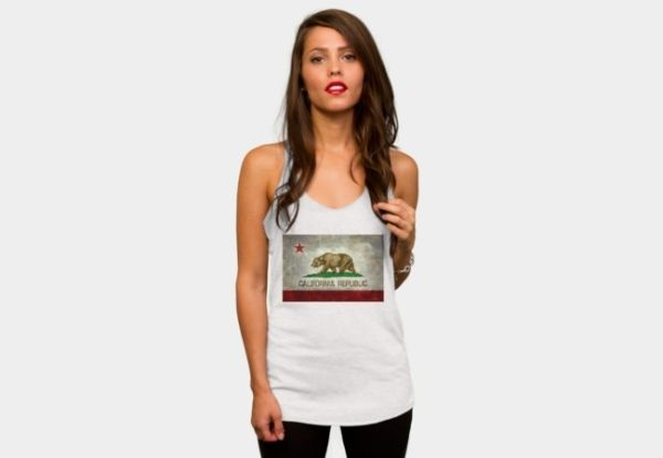 California Republic State Flag Racerback By Bruzer Design By Humans by Bruzer