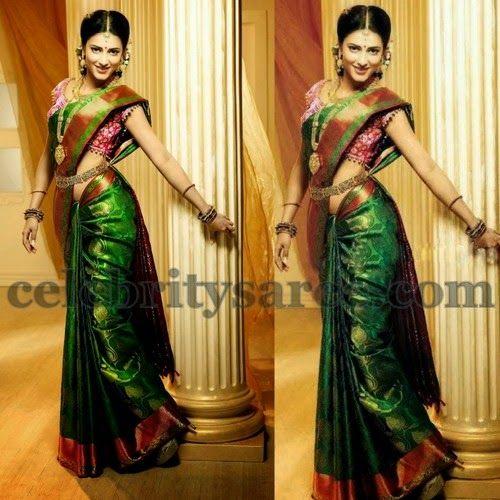 Shruti Hassan Green Silk Saree | Saree Blouse Patterns