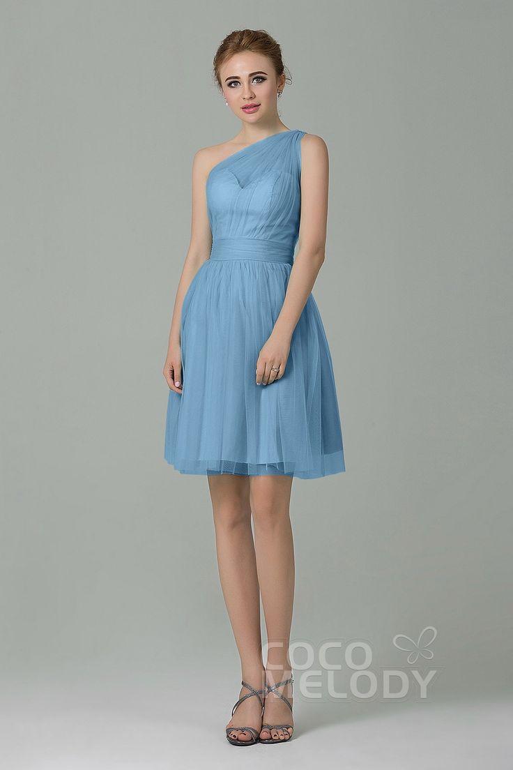 Sweet One Shoulder Natural Short-Mini Tulle Sleeveless Side Zipper Bridesmaid Dress LOZM1503F #bridesmaiddresses #bridesmaids #customdresses #cocomelody #shortdresses
