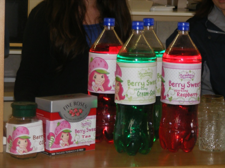 Branded Refreshments for the Adults...with home printed labels  StrawberryShortcake
