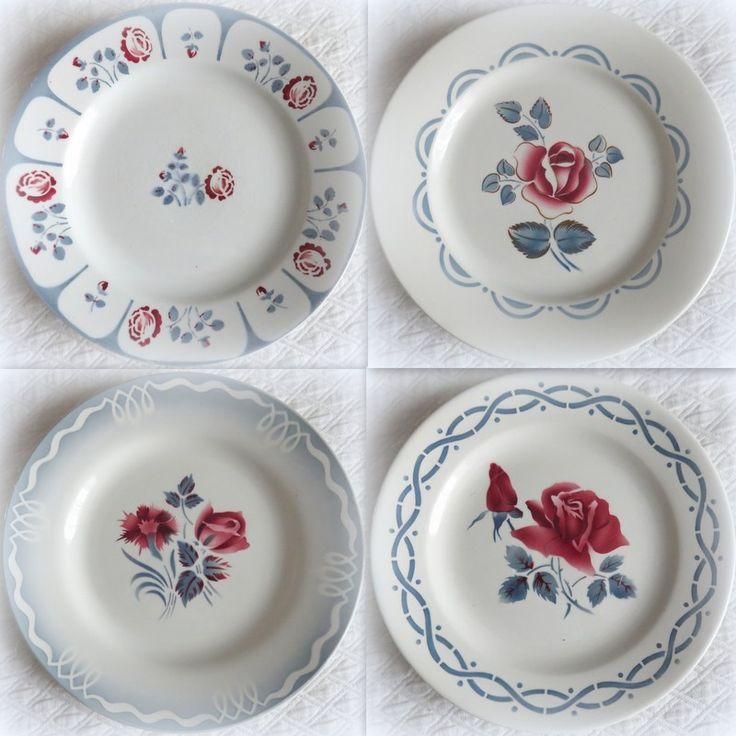 4 assiettes en faïence de Digoin Sarreguemines (Bengal Marinette Janine) + 1 autre faïencerie (Gabrielle)