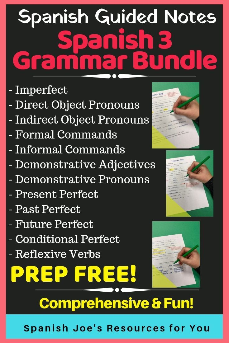 Spanish 3 Guided Notes Bundle With Teacher Keys Guided Notes Teaching Spanish Writing Practice Worksheets [ 1102 x 735 Pixel ]