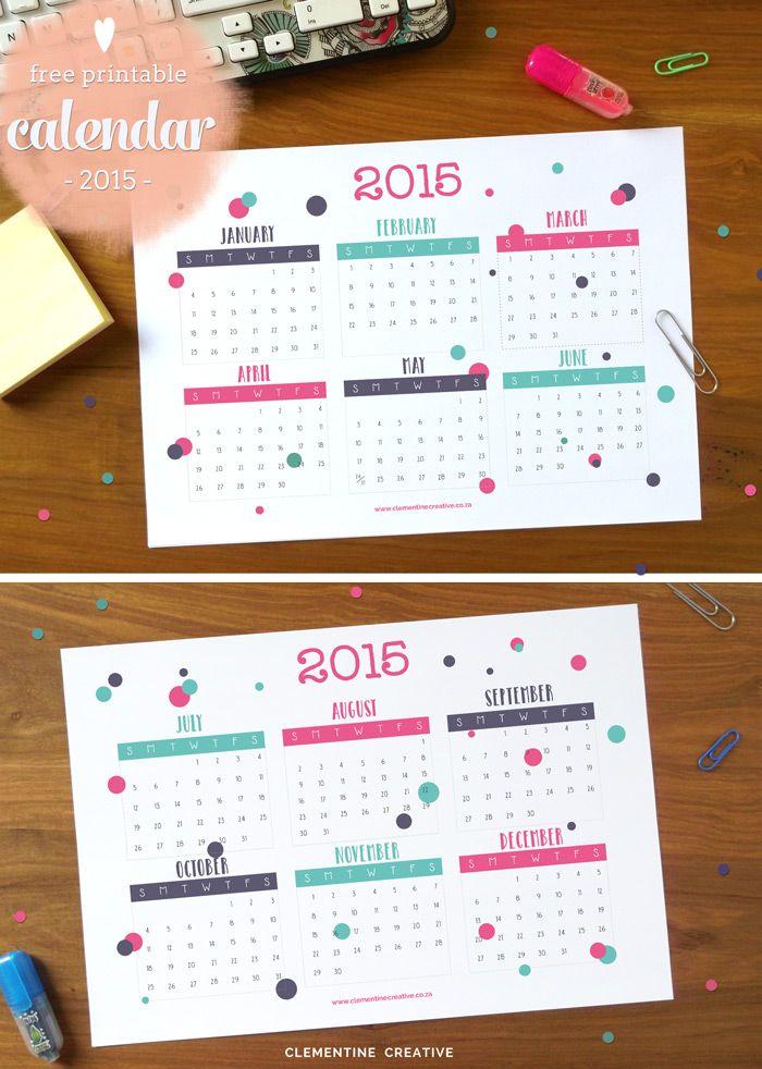 無料で印刷可能な2015年カレンダー