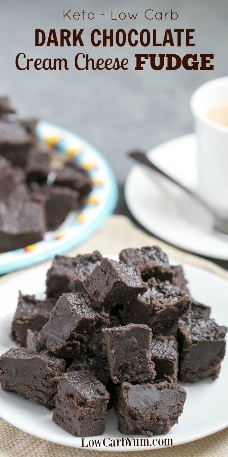 Dark chocolate Fudge: Made from a combination of cream cheese and dark chocolate, among other ingredients! Satisfy your sweet tooth with this heavenly cream cheese dark chocolate keto fudge. It's a delicious low carb treat with only 1 gram net carb per square. | via @Low Carb YumGluten Free & Low Carb Recipes