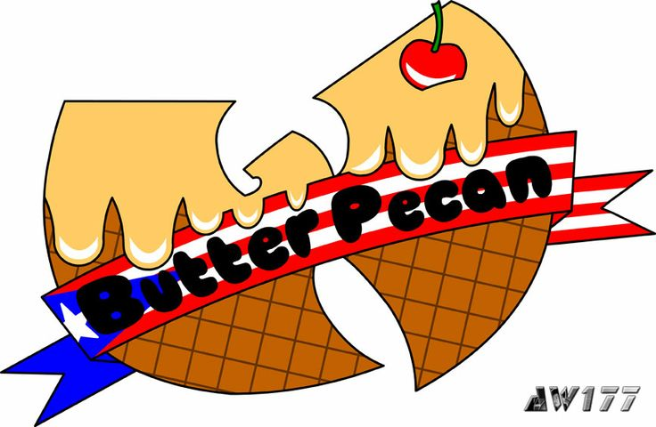 """""""Butter Pecan (Flag)"""" - a redesign of the infamous ice cream logo from the song, """"Ice Cream"""" for hip-hop star, Ghostface Killah. It was a great honor and pleasure for me when I was asked to redesign the ice cream logos for Ghostface Killah, a member of the Wu. If you have not heard the song before, go to YouTube and search """"Wu-Tang Ice Cream"""".  The logos are printed onto t-shirts for women and sold on GFK's official merchandise store."""
