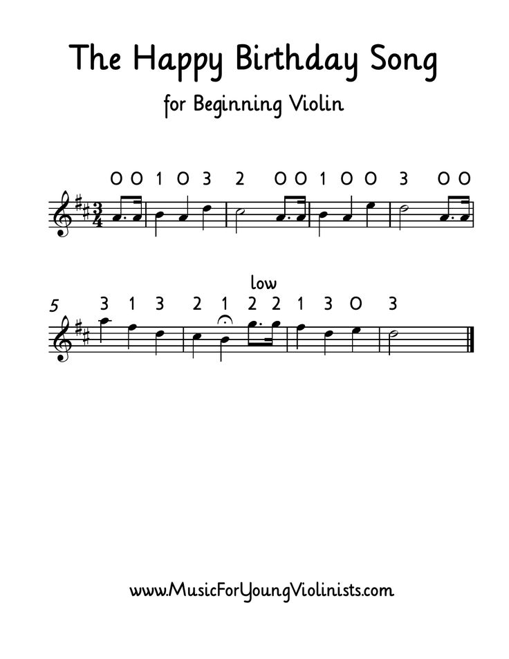 THE HAPPY BIRTHDAY SONG for beginning violin. Get this and more LARGE print music for beginning violin at the Music for Young Violinists project - helping parents and teachers bring out the best in their young musicians!
