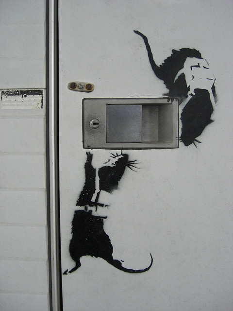 BANKSY RATS around door handle
