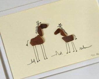 Sea Glass Giraffes - Nursery - Nursey Decor - Zoo - Animals - Illustration