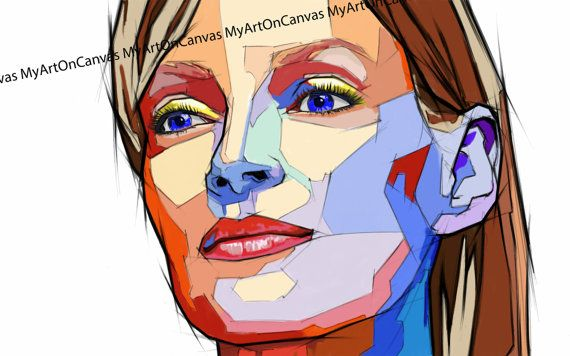 Uma Thurman portrait paintingPrinted in HD on di MyArtOnCanvas