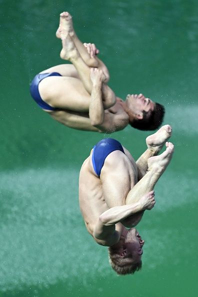 #TOPSHOT Great Britain's Jack Laugher and Great Britain's Chris Mears compete in the Men's Synchronised 3m Springboard Final during the diving event...