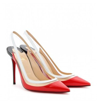 Schwarz-rote Slingbacks aus Lackleder By Christian Louboutin