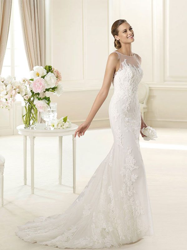 sleeveless-floral-lace-mermaid-wedding-dress-with-bateau-tulle-neckline-1