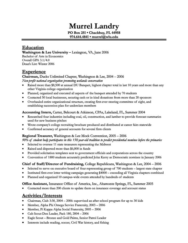 Resume Objective Examples For College Students  Template