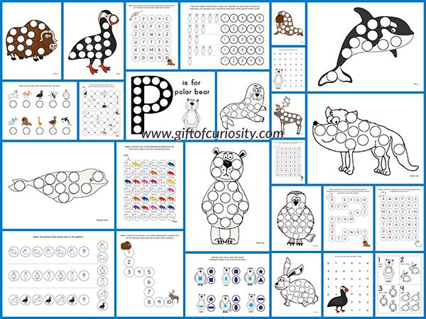 Arctic Animals Do-a-Dot Printables: 26 pages of Arctic animals do-a-dot worksheets for kids ages 2-6 with activities that focus on one-to-one correspondence, shapes, colors, patterning, letters, and numbers. || Gift of Curiosity