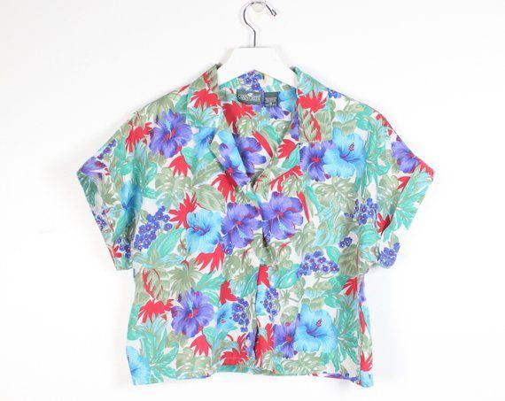2562a3ae909b80 Vintage 90s Hawaiian Shirt Green Teal Red Purple Floral Print Crop Top  Button Down Cropped 1990s Shirt Hot Boyfriend Collared Top S M Medium #1990s  #90s ...