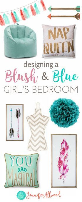 How to design a tween girls bedroom | Blush & Blue Girls Bedroom by Jennifer Allwood - Girls Bedroom Decorating Ideas (1)