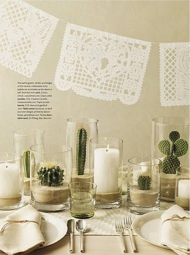 Gorgeous white & green Mexican decor! Perfect for a Cinco de Mayo party!                                                                                                                                                     More