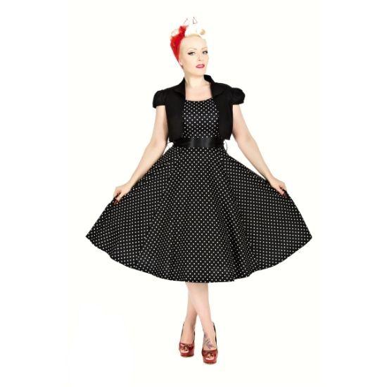 Šaty s bolerkem Vivian Black White Polka Šaty ve stylu 50. let z londýnské dílny H&R London. Krásné šaty ve střihu Audrey, v klasické černé s bílým drobným puntíkem, v pase širší saténová stuha (volně upevněná, lze v případě potřeby vyměnit za jiný pásek). Příjemný dobře padnoucí materiál (97% bavlna s 3% podílu elastanu). Součástí setu je černé krátké bolerko pro doladění vašeho outfitu, chladnější večery či získání slavnostnějšího rázu šatů. Pro bohatší objem kolové sukně doporučujeme…