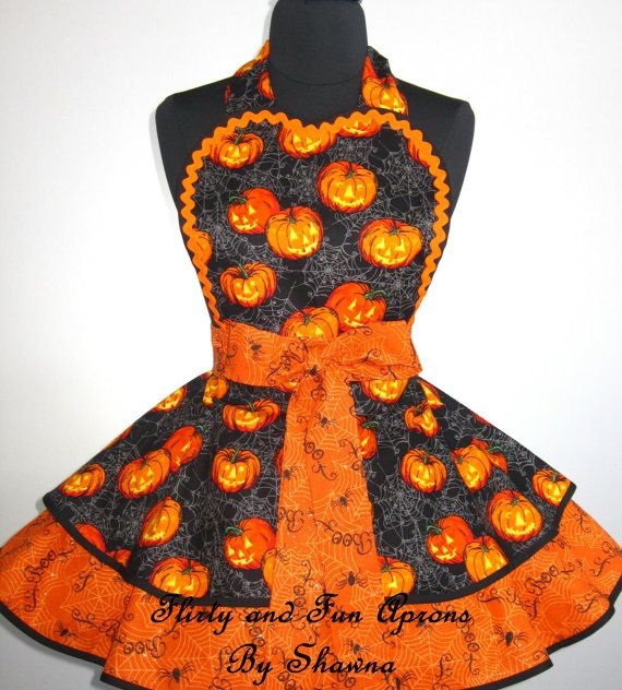 Halloween Apron Pumpkin Apron Jack O Lantern by FlirtyandFunAprons, $55.00