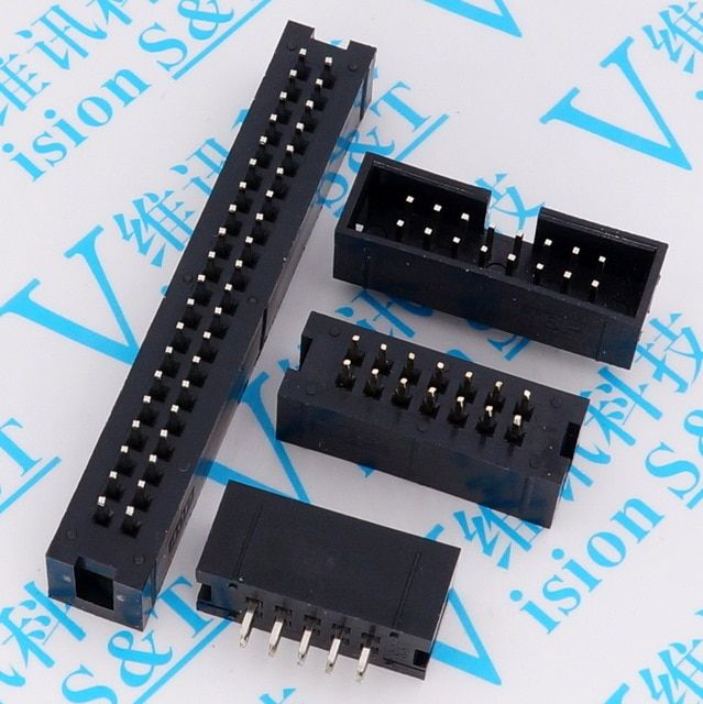 10pcs Pitch 2 54mm Dc3 6 8 10 14 16 20 26 30 34 40 50 Pin 2x3 4 5 7 13pin Straight Male Shrouded Pcb Idc Socket Box Header Jtag Review Sockets Pitch Shroud