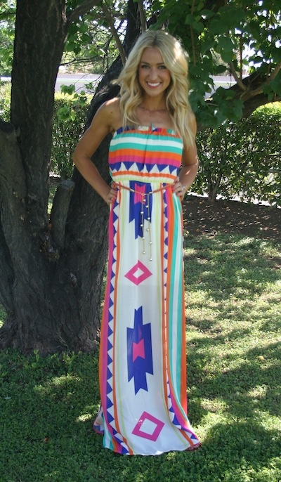 Colorful Aztec Dress-aztec dress aztec maxi dress tribal maxi ...