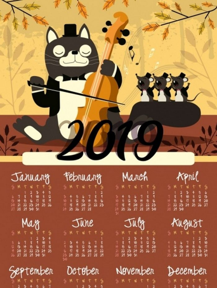 2019 Music Yellow Calendar Ai Vector Download Download Editable
