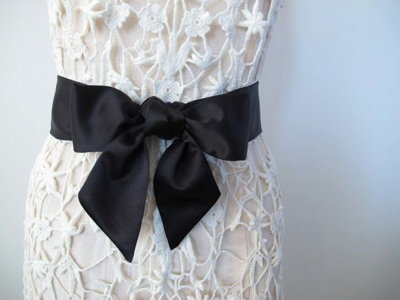 Black Sash Bow Belt Bow Sash Wedding Sash Bridesmaid Sash in Matte Satin - shorter length - made to order
