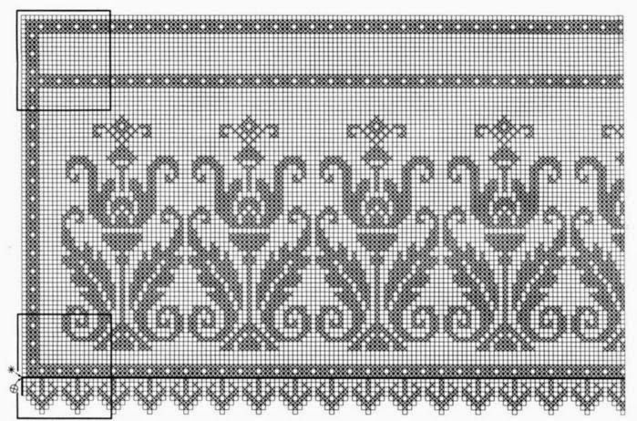 Kira scheme crochet: Album bordura or short curtains