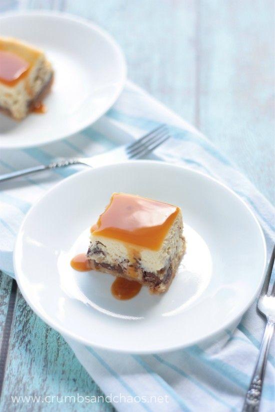 Caramel Overload Cheesecake Bars - recipe on www.crumbsandchaos.net