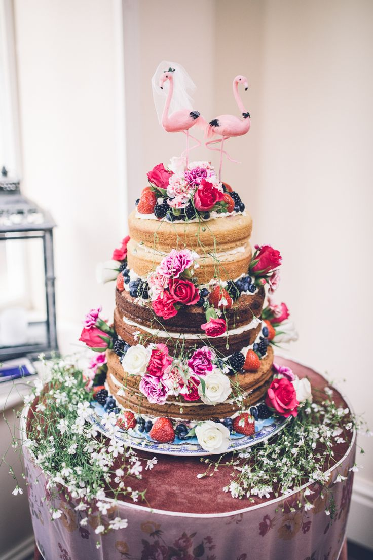 Quirky Kitsch Naked Cake Sponge Layer Flamingos Topper Flowers Victoria Retro 1950s Vintage Wedding http://amyfaithphotography.com/ Photography | Amy Faith Photography