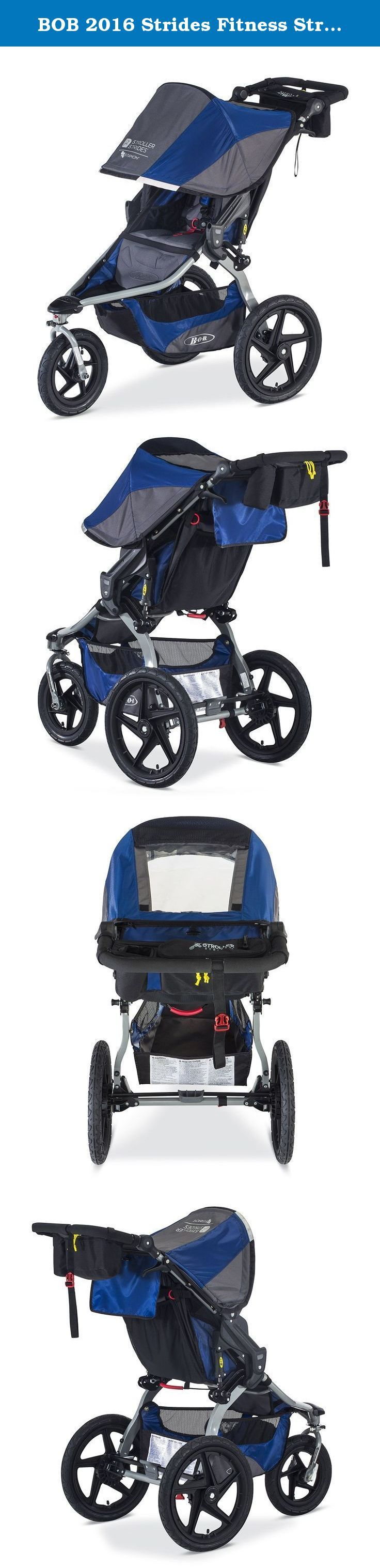 BOB 2016 Strides Fitness Stroller, Blue. The Stroller Strides Fitness Stroller by BOB is the ideal on- and off-road jogging stroller, keeping families active for years to come. It's equipped with a coupon for Stroller Strides fitness classes by Fit4Mom and a Stroller Strides Fitness Kit by BOB, including a Handlebar Console, Stroller Strides exercise manual and SPRI fitness resistance bands. The Stroller Strides Fitness Stroller is amazingly versatile. The front wheel swivels, which…