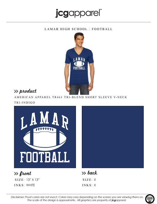 JCG Apparel : Custom Printed Apparel : Lamar High School Football T-Shirt #lamarhighschool #football