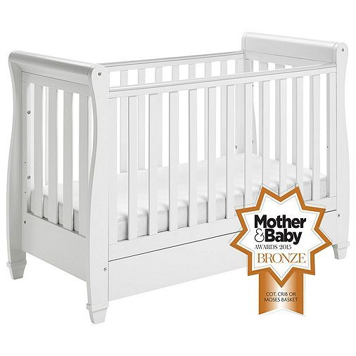 Tesco direct: Babymore Eva Sleigh Cot Bed Dropside with Drawer (White)