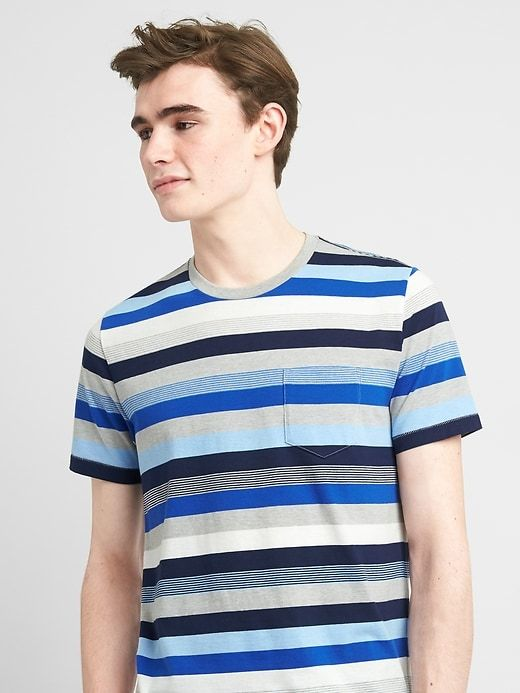 Gap Mens Crazy Stripe Short Sleeve Crewneck Tee Blue Stripe