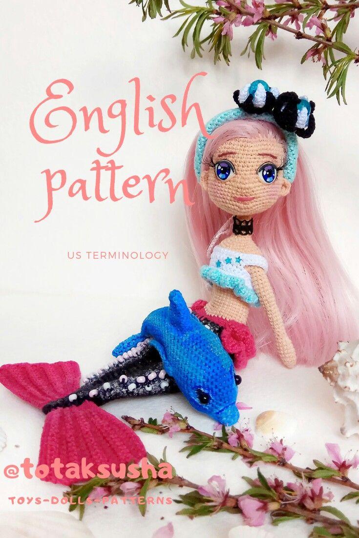 2 in 1. Crochet Mermaid pattern and dolpnin pattern
