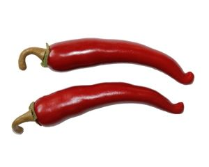 Spaanse pepers decoratie bijna niet van echt te onderscheiden.