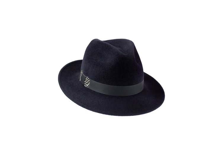 The Amber Trilby Collection | Midnight Blue | Leather & Guinea Fowl Feather Band www.penmayne.com #trilby #hats #accessories