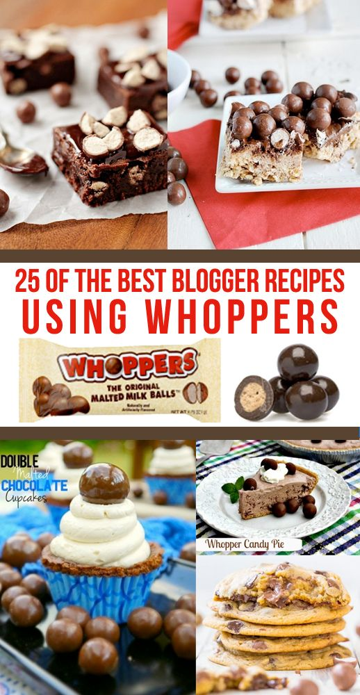 Recipes Using Whoppers!  Use up that Halloween candy in all kinds of fun ways!