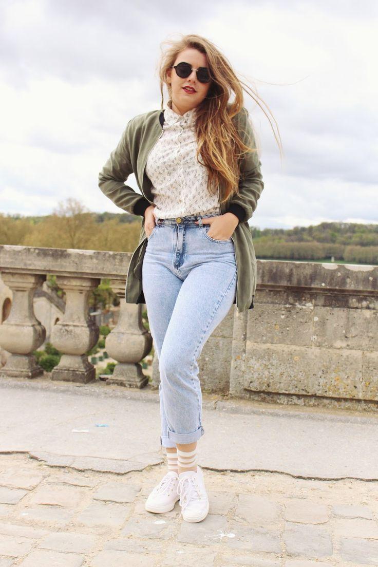 Look Vintage Hotpants com Camisa branca estampada, Bomber Jacket verde militar e Tênis Branco! Look básico, minimalista e clean que usei quando visitei o Palácio de Versailles! (Winter 2016)