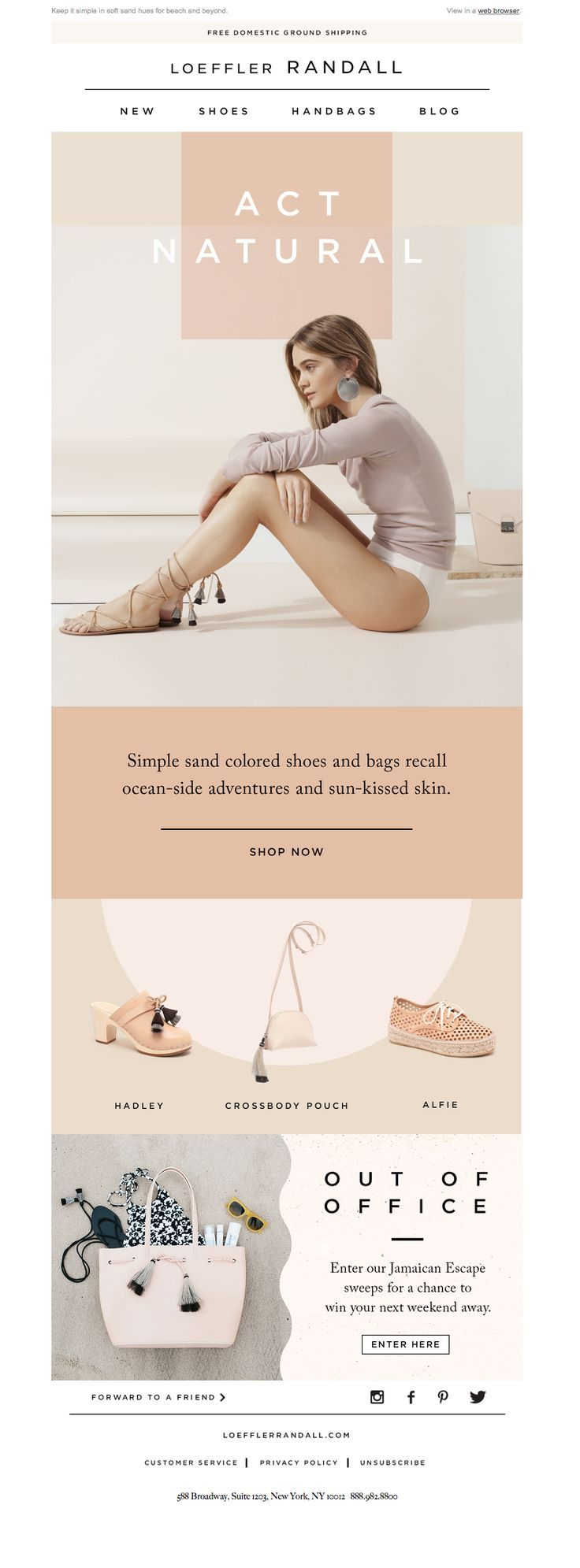 Loeffler Randall - Sun's Out - Promotional Email Design. If you like UX, design, or design thinking, check out theuxblog.com