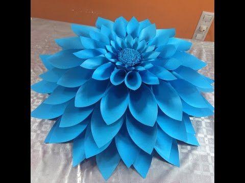 Flor grande  4 elaborada en cartulina - YouTube