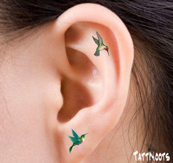 Hummingbirds Temporary 12 Ear Tattoos Finger or Toe by TattNoots