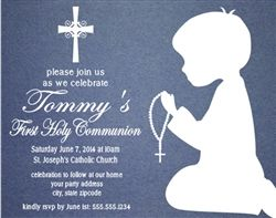 First Communion Invitation Shadow Kneeling Boy Or Girl 1st